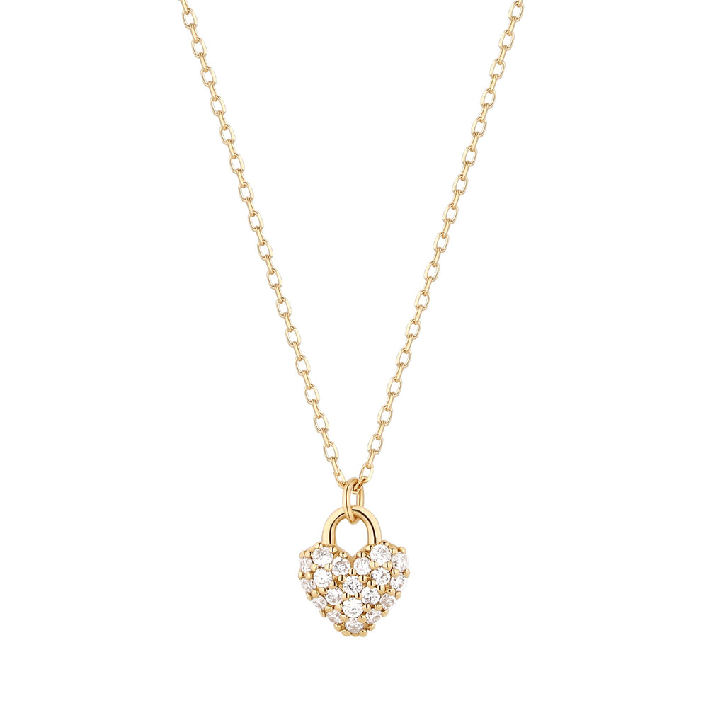 14K Yellow Gold Diamond Puff Heart Necklace