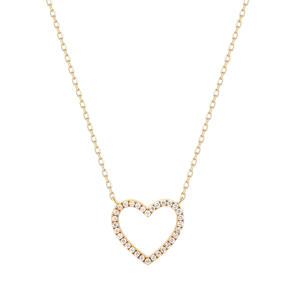14K Yellow Gold Diamond Open Heart Necklace