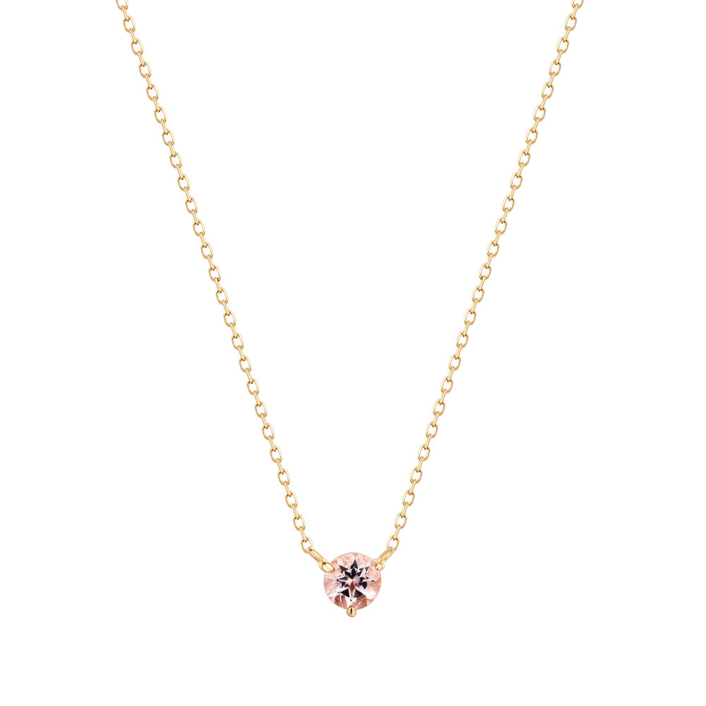 14K Yellow Gold Solitaire Morganite Necklace