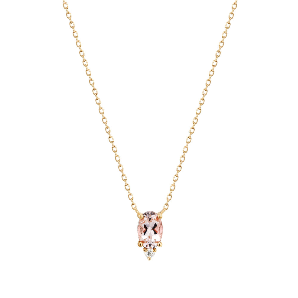 14K Yellow Gold Morganite and Diamond Necklace