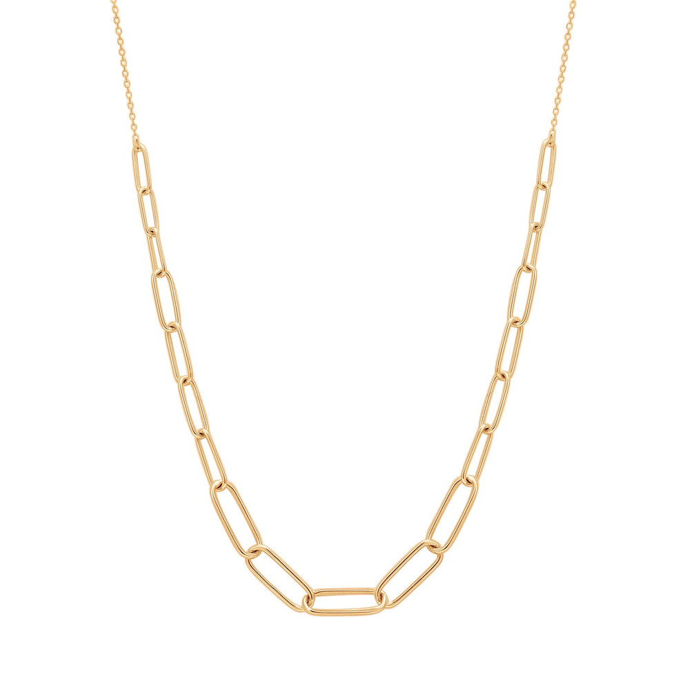 14K Yellow Gold Graduated Paper Clip Necklace