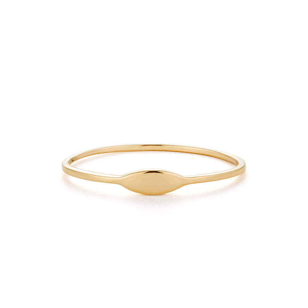 14K Yellow Gold Skinny Oval Signet Ring