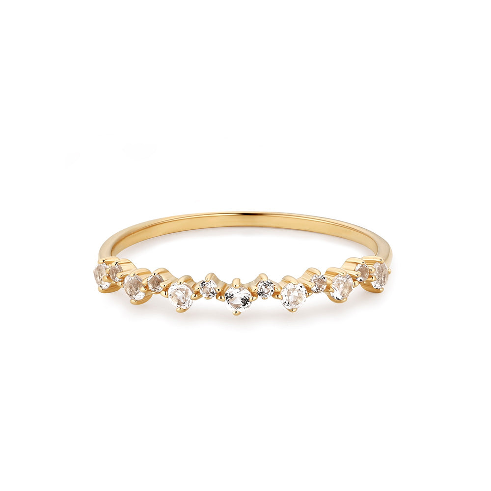14K Yellow Gold White Topaz Stackable Band