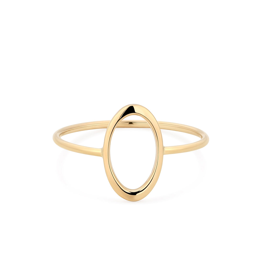 14K Yellow Gold Open Oval Ring