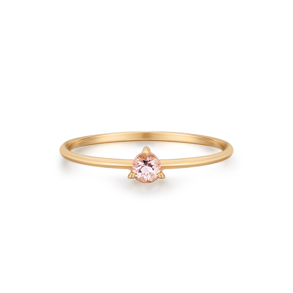 14K Yellow Gold Morganite Solitaire Ring