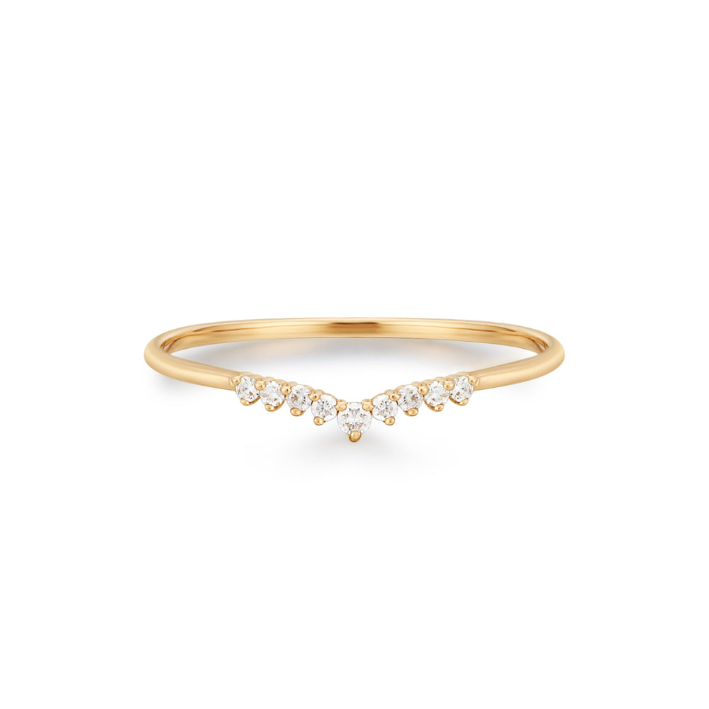 "14K Yellow Gold and Diamond ""V"" Ring"