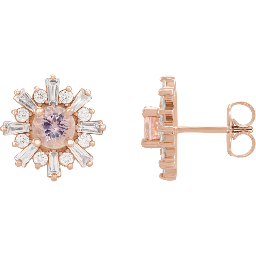 Morganite and Diamond Starburst Earrings