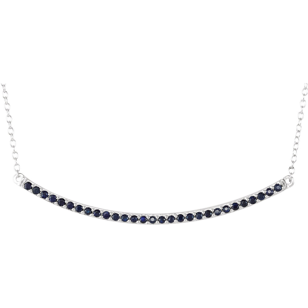 Curved Blue Sapphire Bar Necklace