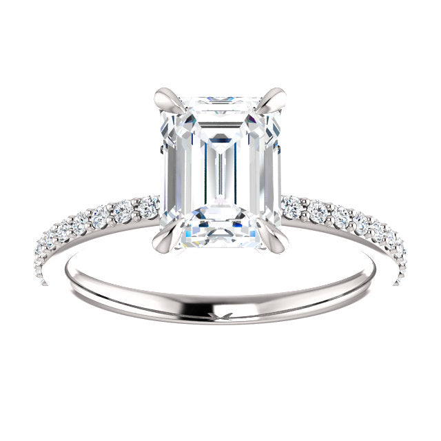 The Jade - Emerald Cut Diamond Engagement Ring with Side Stones