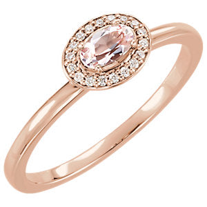 Oval Morganite and Diamond Halo Ring