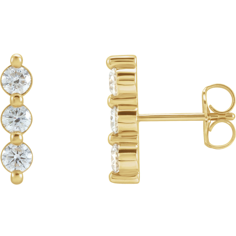 Three-Stone Diamond Bar Earrings