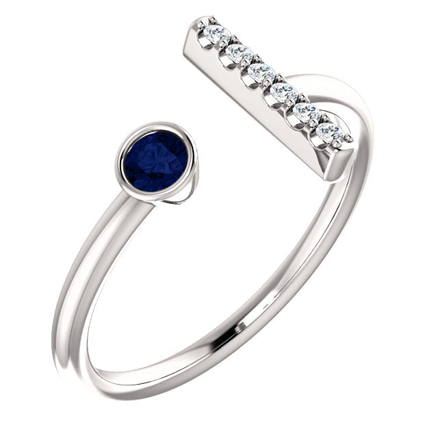 Diamond Bar and Blue Sapphire Ring