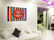 Cuadro Stripes Lips Labios en Lienzo Canvas