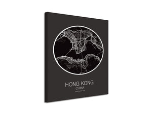 Cuadro Mapa Hong Kong China En Lienzo Canvas Impreso