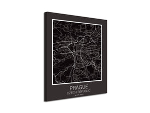 Cuadro Mapa Prague Czech Republic En Lienzo Canvas Impreso