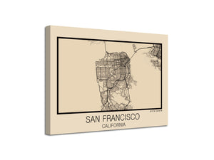Cuadro Mapa San Francisco California En Lienzo Canvas Impreso'