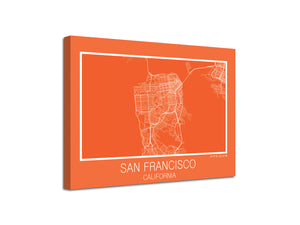 Cuadro Mapa San Francisco California En Lienzo Canvas Impreso