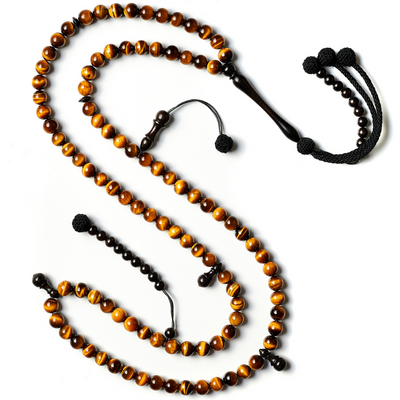 Tasbih islamic prayer beads for juniors handmade with blue Agate Aqiq Stones. Crafted by basmala beads.