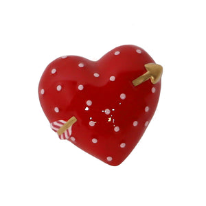 Red Heart and Arrow Hand-Painted Ceramic Magnetic 3D Popper Topper