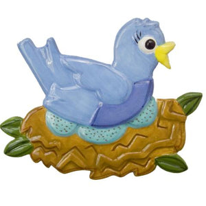 Mama Blue Bird Hand-Painted Ceramic Magnetic Topper