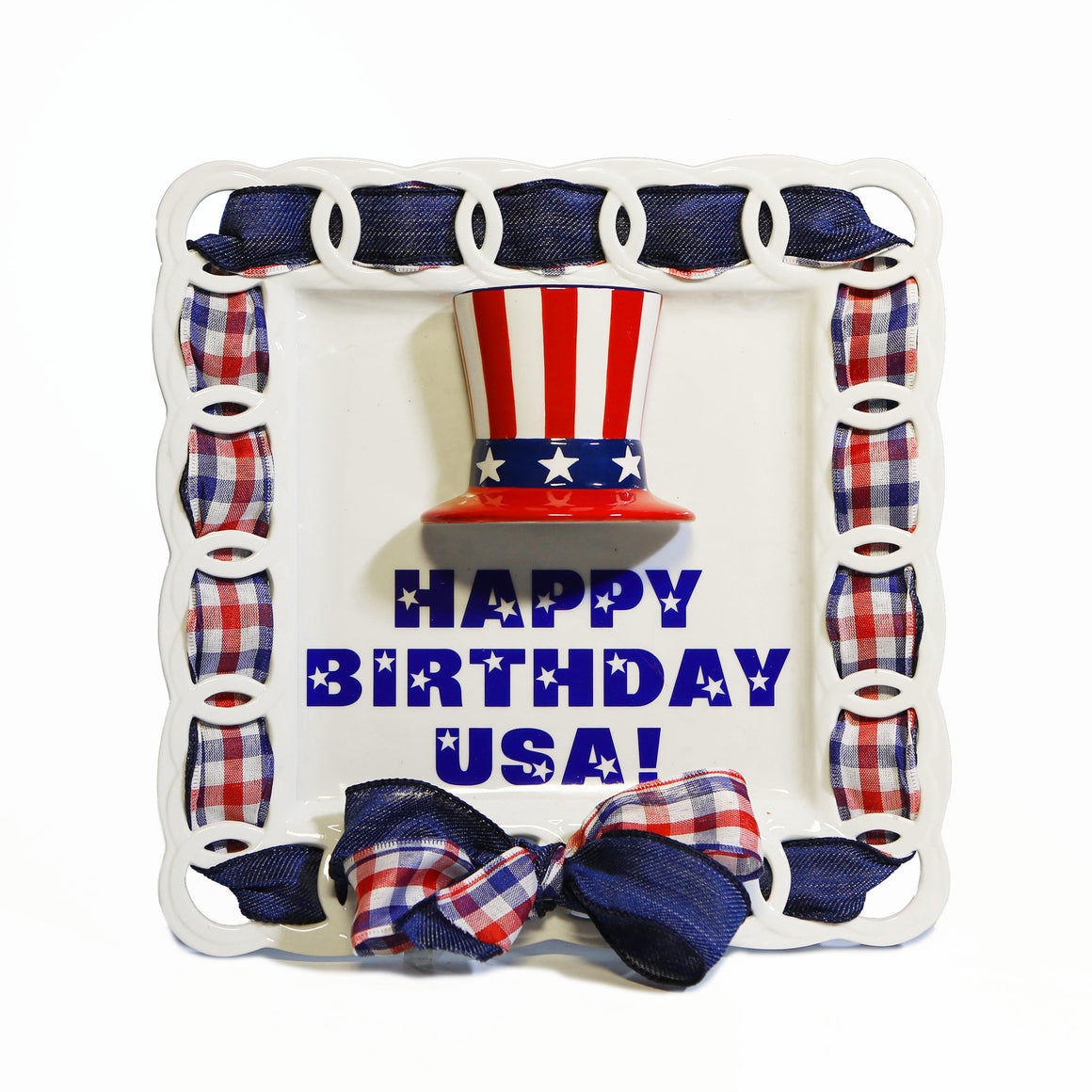 "4th of July Uncle Sam Hat ""Happy Birthday USA"" Kit:  3D Popper, Cling and 2-Ribbon Pack"