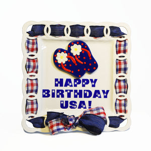 "4th of July ""Happy Birthday USA"" Kit:  Topper, Cling and 2-Ribbon Pack"