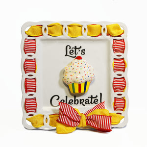 "Birthday Vanilla Cupcake ""Let's Celebrate"" Kit:  3D Popper, Cling and 2-Ribbon Pack"