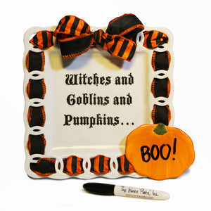 Witches and Goblins and Pumpkins Write Words Reusable Cling