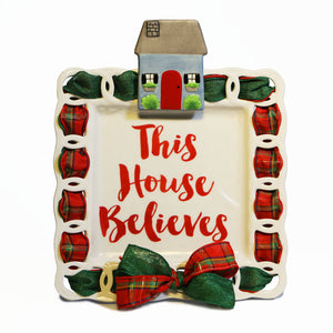 "Christmas ""This House Believes"" Kit:  Topper, Cling and 2-Ribbon Pack"