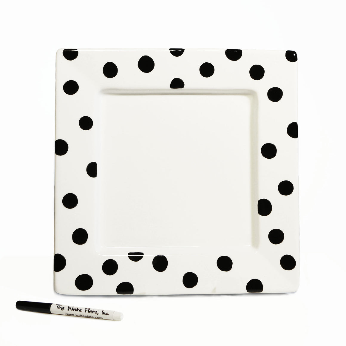 "Write Plate, Polka 12"" Square Porcelain Plate"