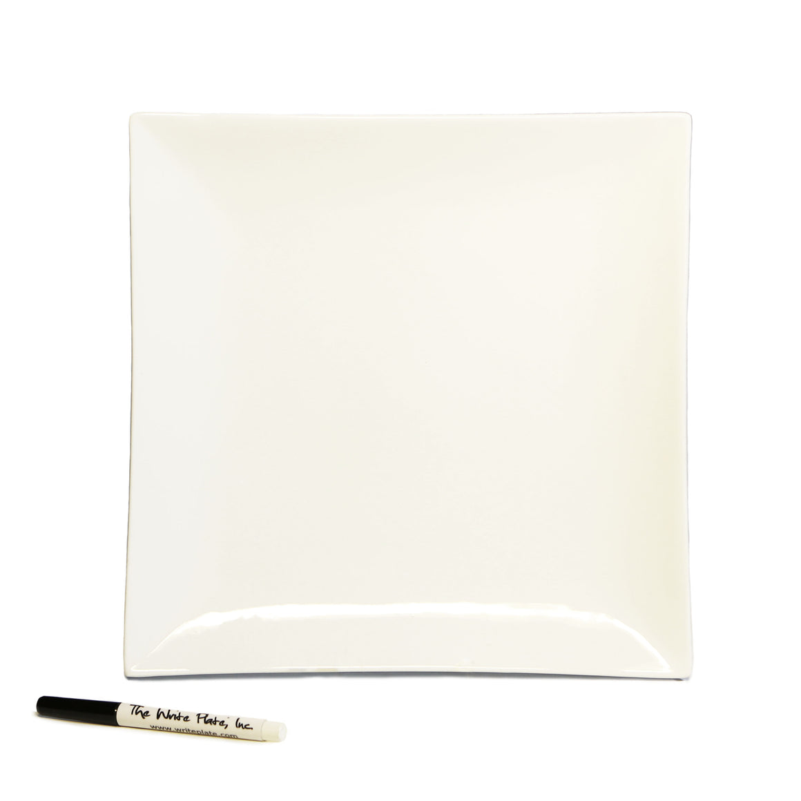 "Write Plate, Plain 12"" Square Ceramic Plate"
