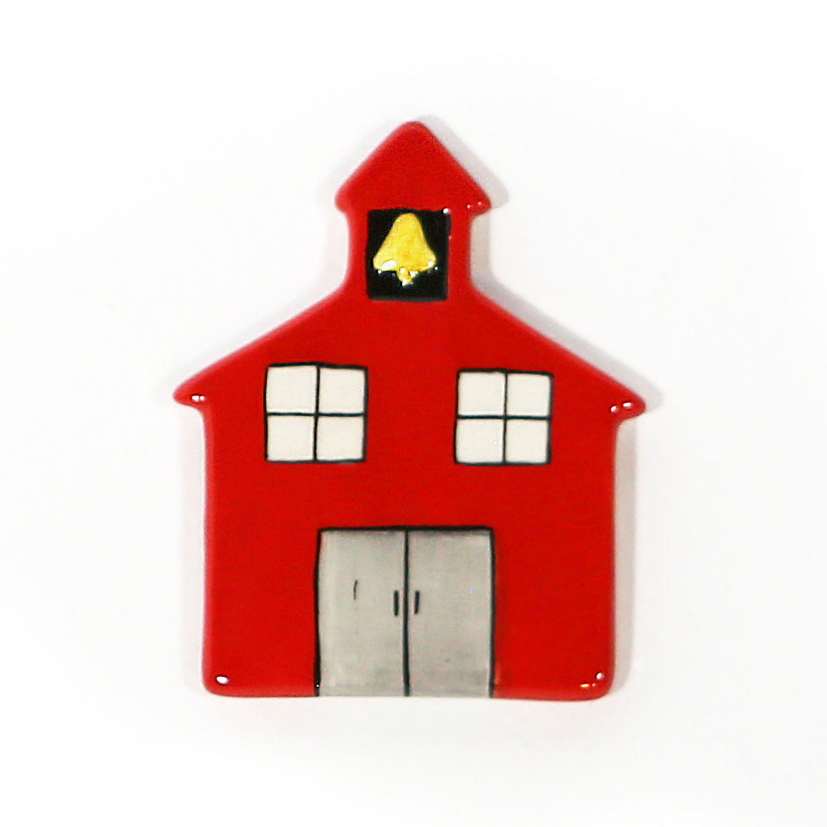 School House Hand-Painted Ceramic Magnetic Topper