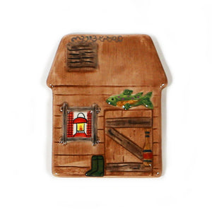 Log Cabin Hand-Painted Ceramic Magnetic Topper