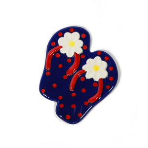 Blue Flip Flop Hand-Painted Ceramic Magnetic Topper