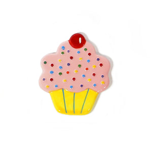 Pink Cupcake Hand-Painted Ceramic Magnetic Topper