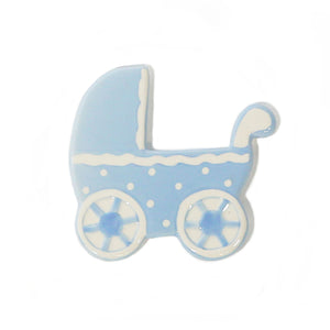 Blue Baby Carriage Hand-Painted Ceramic Magnetic Topper