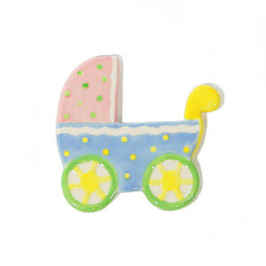 Neutral Baby Carriage Hand-Painted Ceramic Magnetic Topper