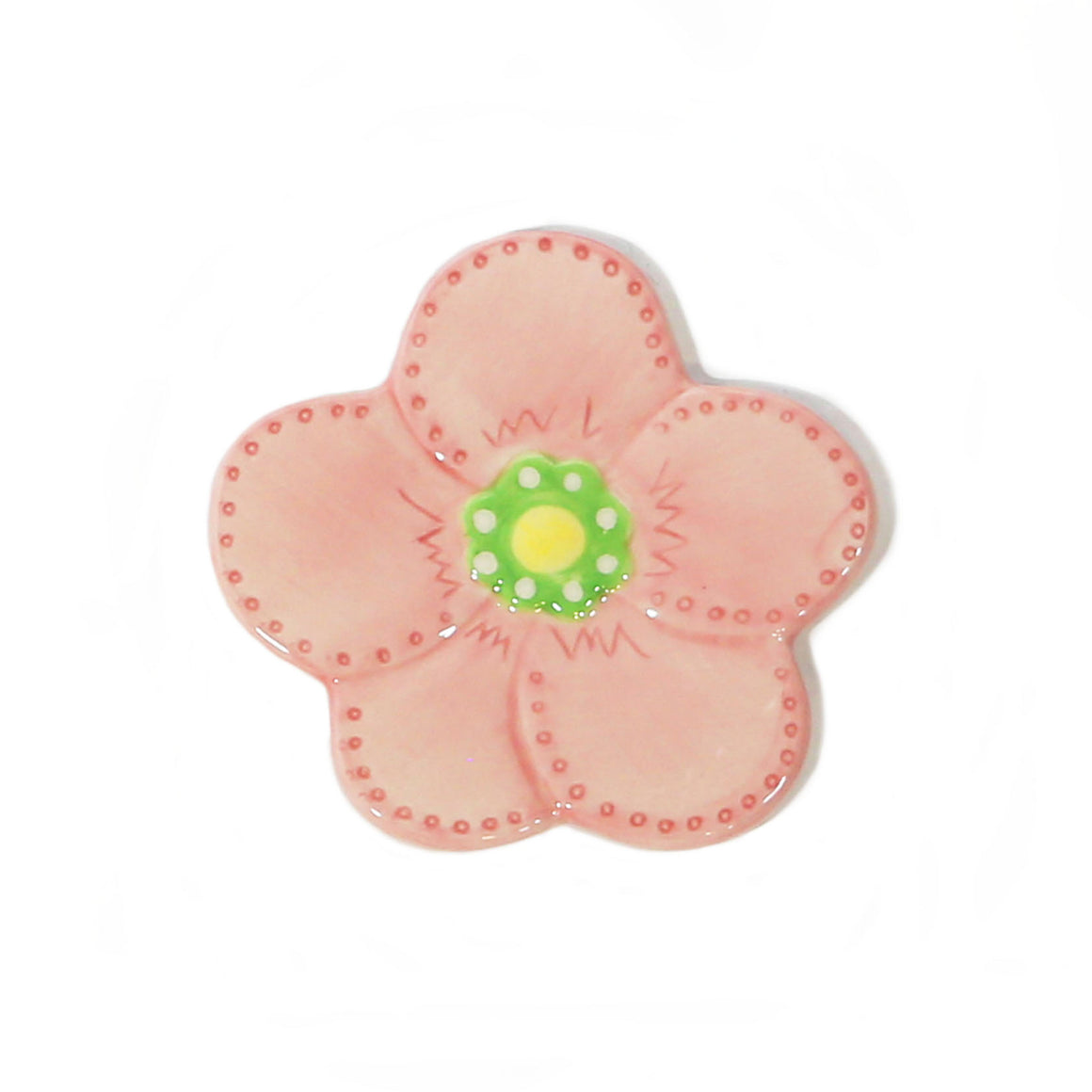 Pink Flower Hand-Painted Ceramic Magnetic Topper