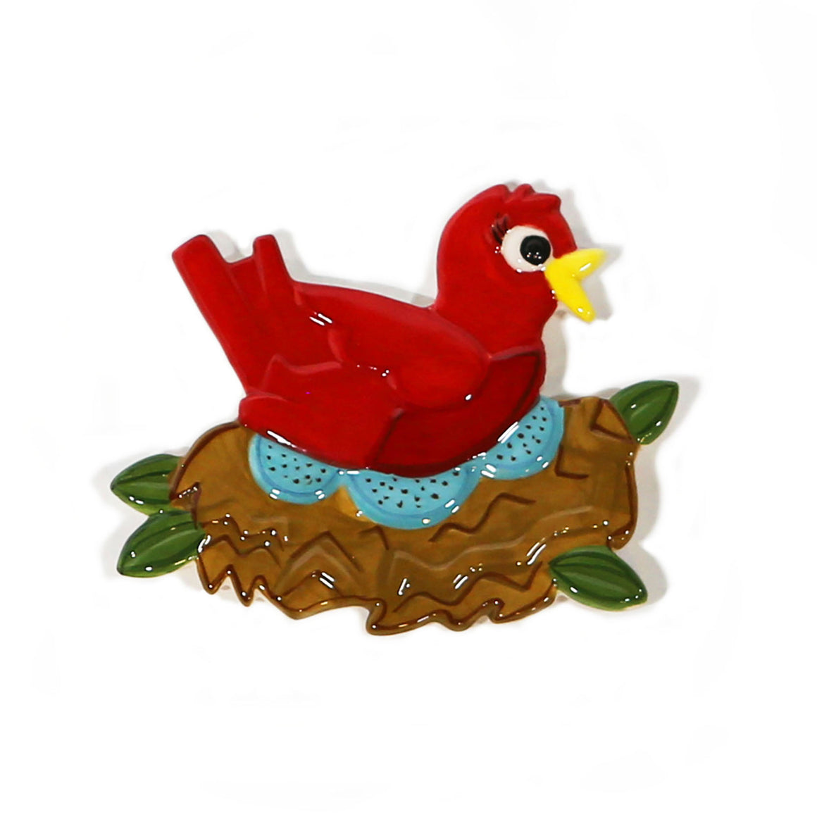 Mama Red Bird Hand-Painted Ceramic Magnetic Topper