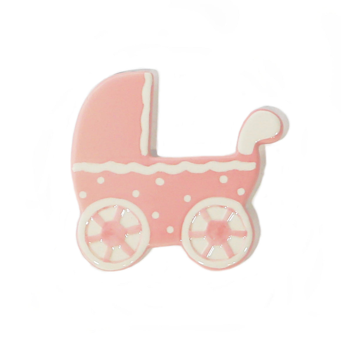 Pink Baby Carriage Hand-Painted Ceramic Magnetic Topper