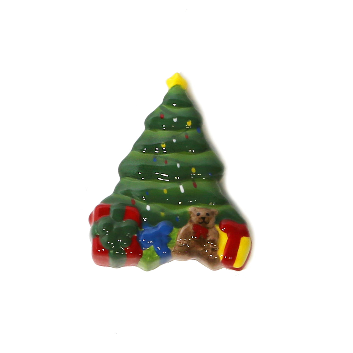 Christmas Tree Hand-Painted Ceramic Magnetic 3D Popper Topper