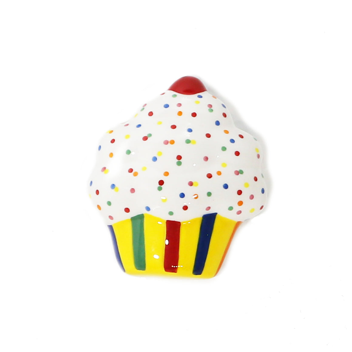 Vanilla Cupcake Hand-Painted Ceramic Magnetic 3D Popper Topper