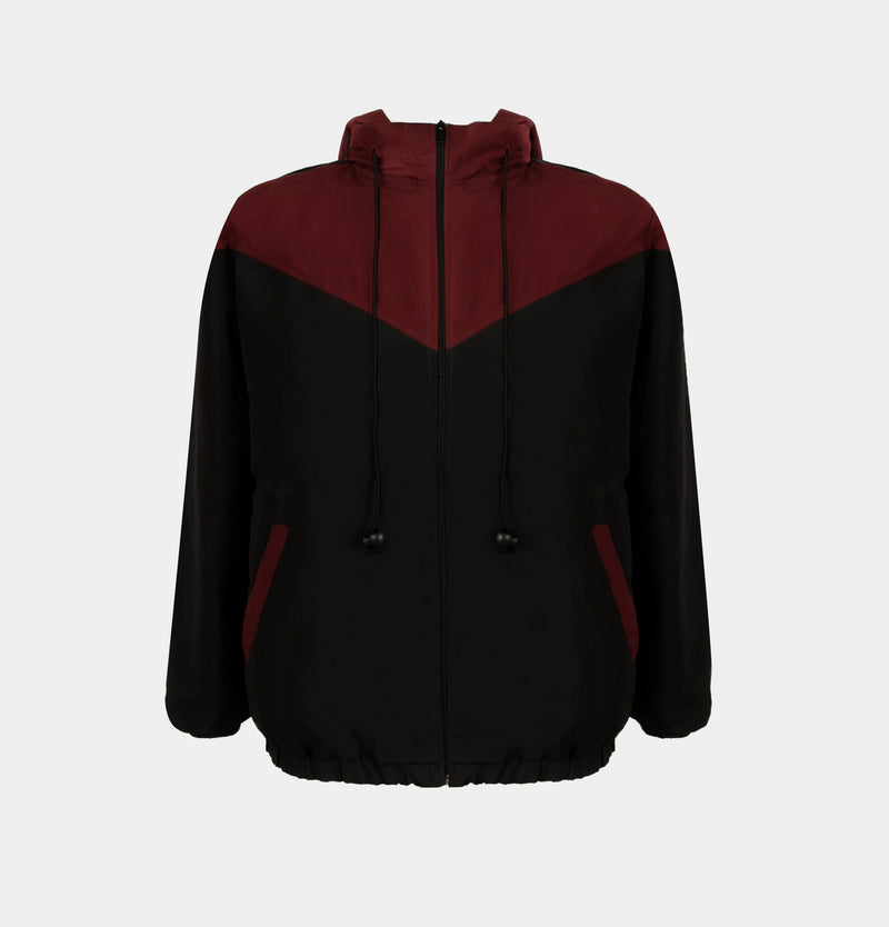 Summit Colorblock Windbreaker (Maroon, Black)