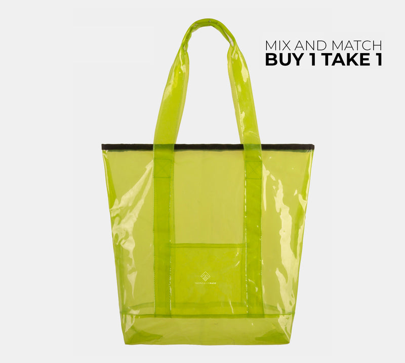 Departure Point Zipped Tote Bag (Neon Green)