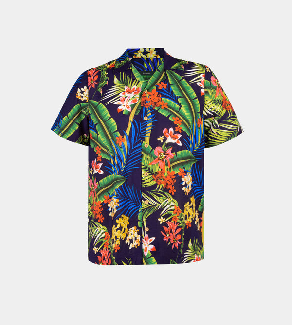 Tropics Cuban Shirt (Honolulu, Navy Blue)
