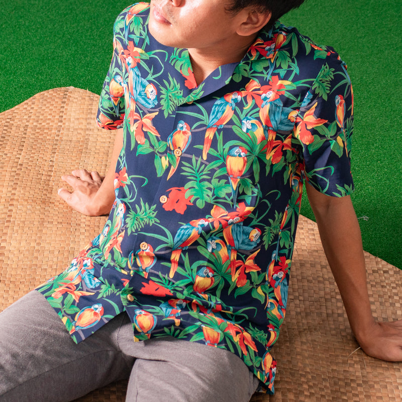 Tropics Cuban Shirt (Thicket, Navy Blue)