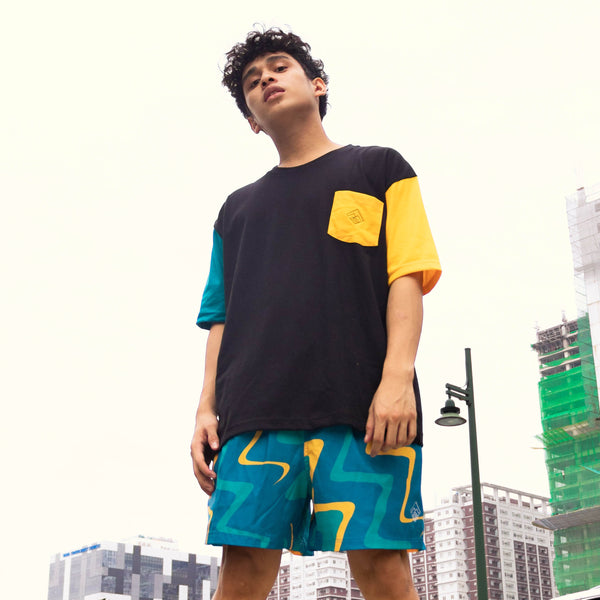 Oversized Colorblock Tropically Made Logo T-Shirt (Black, Teal, Yellow)