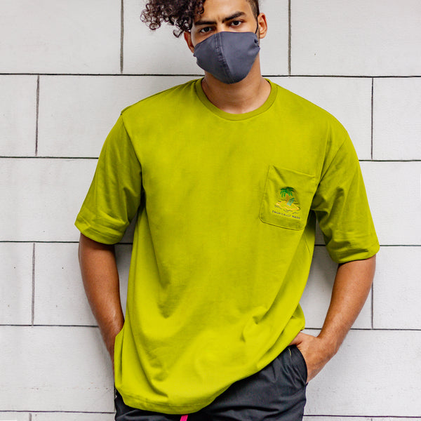 Oversized Vivid Summer Pocket Tee (Avocado)