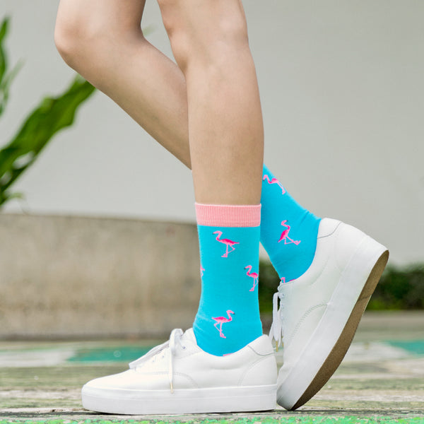 Patterned Socks (Flamingo Blue)