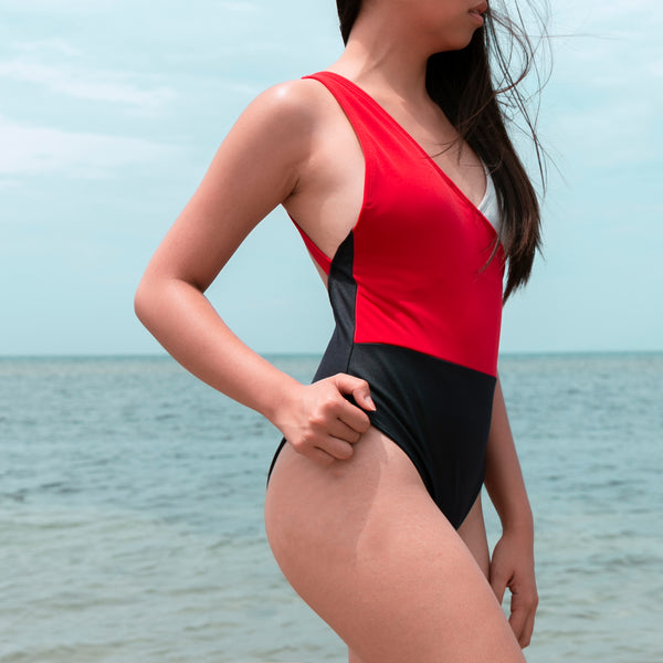 Pacific Tricolor One-Piece (Red, Light Gray, Navy Blue)